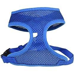 Delicacydex Harnais pour Chien Respirant et Ajustable, Confortable, Corde, Gilet, Sangle pour Chien, Gilet, Plomb, été, extérieur, Gilet sans Manches, t-Shirt - Bleu S