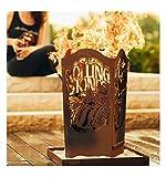 Metallmichl Edelrost Feuerkorb Rolling Stones Fanartikel Eckig Höhe 67 cm 32 x 32 cm, Feuertonne für Rock-Fans aus Edlem Rost Metall