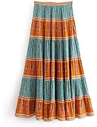 Mujer Faldas Boho Chic Verano Vintage Estampado Floral Falda Larga Plisada  Moda de Las Mujeres Cremallera 10121d2a21b6