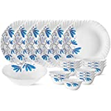 Larah by Borosil Twilight Silk Series Opalware Dinner Set, 19 Pieces, White