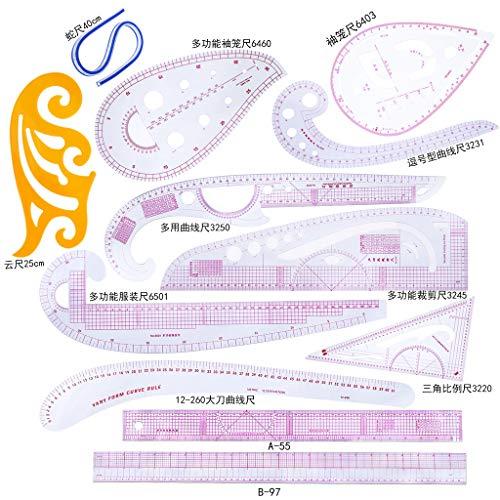 ZJL220 12 unids/Set Regla Francés Curva de Corte Reglas Yardstick Herramientas de Costura Medida Costura Sastre Dibujo