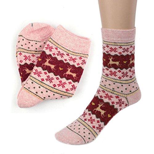 DAY.LIN Niedlich Weihnachten Deer Design Lässige Strickwolle Socken Warmer Winter Herren Damen (Rosa)
