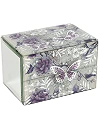 Beautiful Lilac Butterfly Glass and Mirror Jewellery Box Gift For Her