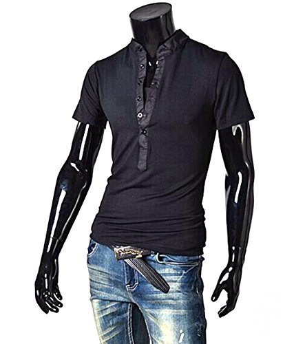 dragonpad-mens-casual-short-sleeve-slim-fit-v-neck-t-shirts-black-l