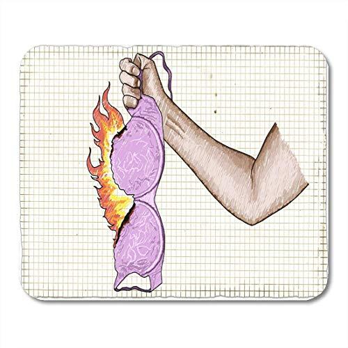 Almohadillas para Mouse Femenino Feminista Fuerte Mujer Puño Sostener el Brazo del Brazo ardiente Alfombrilla de ratón para Cuadernos, Computadoras de Escritorio Esteras Suministros de Oficina