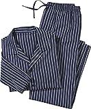 Golden Lutz - Herren Web Pyjama, lang (Navy weiß grau gestreift, Gr. XXL) | LIVERGY