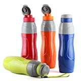 #9: Cello Puro Plastic Sports Insulated Water Bottle, 900 ml Set of 4, Assorted