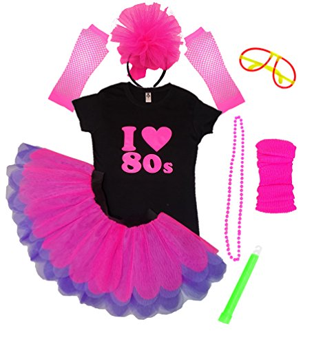 Pink I Love The 80s Ladies Tutu and Skirt Set with Glowsticks - XS to 3XL