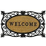 Large Front Door Welcome Coir Mat - Absorbent Non Slip Coco Doormat - Entrance Coconut Matting in Many Designs with Rubber Backing - 60x40cm - Rug by ASAB - Welcome Oval