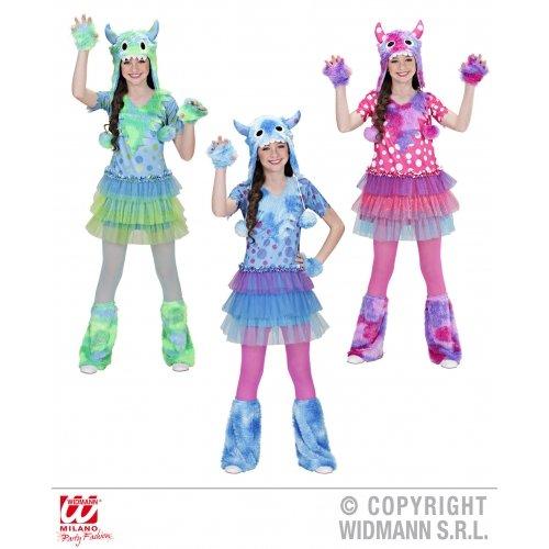 Widmann-WDM01606 Kostüm für Mädchen, Grün Hellblau, Rosa, - Grüne Monster Mädchen Kostüm