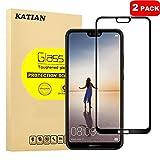 [2 Pack] Huawei P20 Lite Protecteur D'écran, KATIAN 0.3mm Film [Anti-empreintes][Résistant aux Rayures][sans Bulles] HD 99% Haute Transparence Screen Protector Verre Trempé pour Huawei P20 Lite (Noir)
