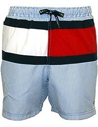 dd3f7479a1b775 Tommy Hilfiger Ithaca Stripe Flag Logo Boys Swim Shorts, Blue