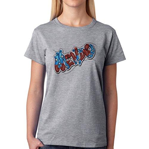 Graffitti Hip Hop Rap Wendy Damen T-Shirt Grau