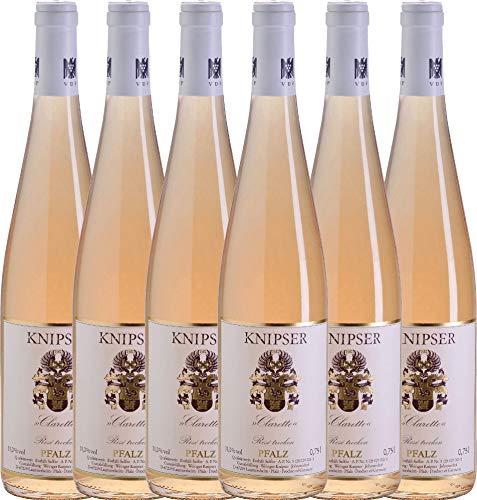 6er Paket - Clarette Rosé 2018 - Knipser   trockener Roséwein   deutscher Sommerwein aus der Pfalz   6 x 0,75 Liter