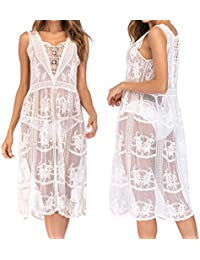 d5a203042773 Summer Dresses DIKEWANG Maxi Dresses for Women Summer Chic Embroidery Lace  Crochet Knit Hollow-Out