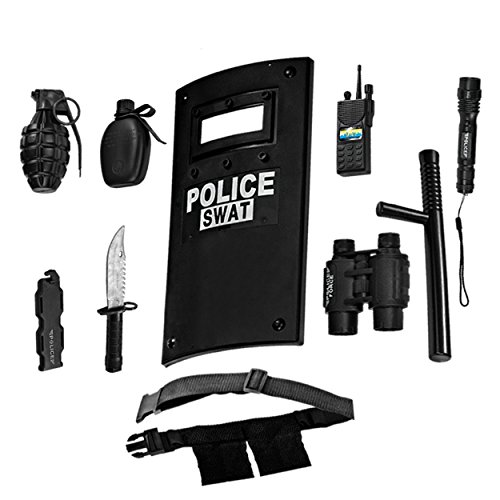 Ultimate tout-en-un ensemble de jeu de rôle policier pour les enfants - Comprend SWAT Shield, ceinture réglable, lampe de poche et plus, Construction en plastique durable, Police Uniform Halloween Acc