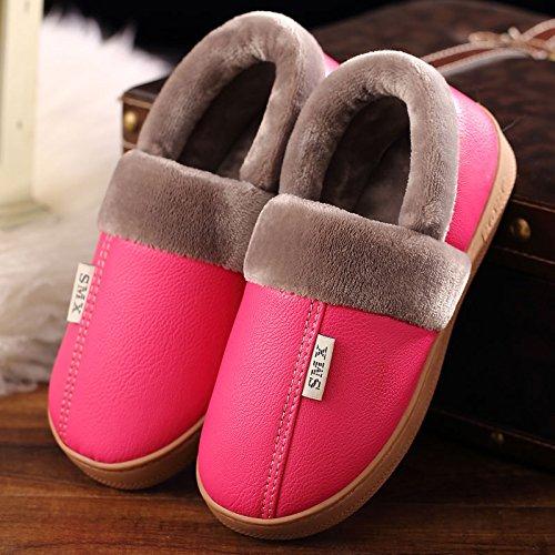 DogHaccd pantofole,Inverno pantofole di cotone interna femmina resistente all'acqua anti-scivolo per le coppie home soggiorno con un pacchetto con le scarpe più caldo di velluto di pelle e maschio 155 rosso1