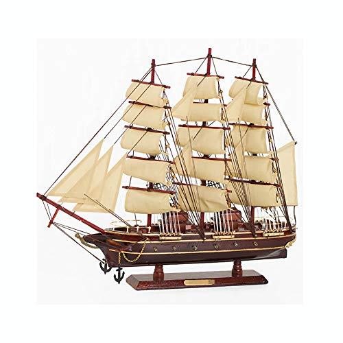Guve Decorazione di Modello di Legno della Barca a Vela, Ornamento di Legno del Modello della Barca Decorazione Domestica del Desktop di Nautica,(L*W*H) 50 * 7.5 * 43cm