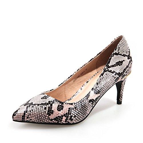 Primavera ed estate scarpe a punta/Asakuchi, seguita da scarpe metalliche/Piedi femminili scarpe Rosa