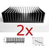 2 Stück große Kühlkörper mit Kammprofil, 100x150x40 mm³, schwarz eloxiert, EN AW6060