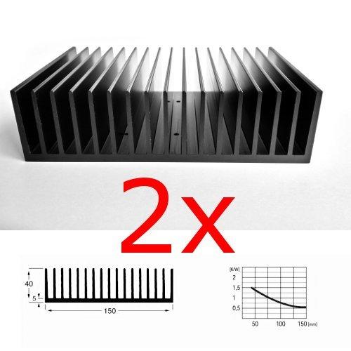 Preisvergleich Produktbild 2 Stück große Kühlkörper mit Kammprofil, 100x150x40 mm³, schwarz eloxiert, EN AW6060