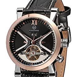 PIXNOR Men Automatic Mechanical Date Display Skeleton Quartz Wrist Watch with PU Leather Strap