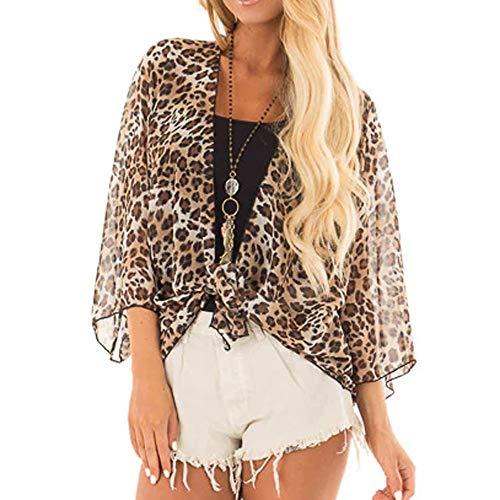 Deloito Damen Leopard-Druck Mantel Halbe Hülse Cardigan Bluse Öffnen Vorderseite Jacke Lässige Tops (Braun,Large) - Wolle Rüschen Cardigan