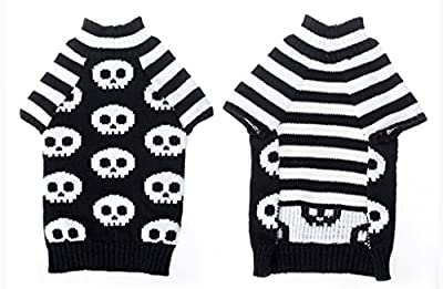 Tiny Small Dog Puppy Turtleneck Sweater Clothes Skeleton Pattern