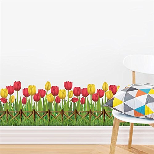Wandaufkleber Kinderzimmer tulip blume pflanze wandaufkleber garten küche fenster dekoration wohnzimmer schlafzimmer diy mural poster geschenk mama (Korb Tulip)