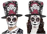Tag der Toten Sugar Skull Rose Schwarz Rot Zylinderhut + Glitter Eyes Tattoo/Make Up Kit