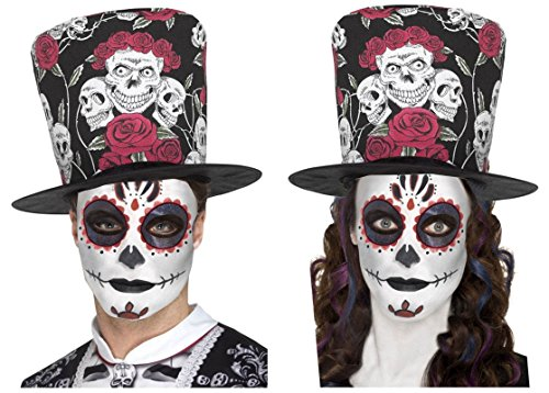 Tag der Toten Sugar Skull Rose Schwarz Rot Zylinderhut + Glitter Eyes Tattoo/Make Up Kit