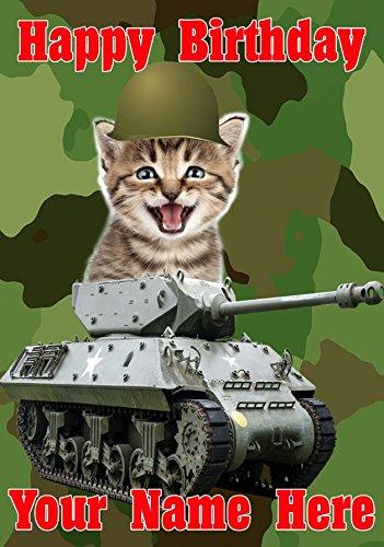 """GIFTS FOR ALL personalisierbare Grußkarte """"Happy Birthday"""" mit süßer Militär-Katze auf Panzer, A5-Format, Geburtstag"""
