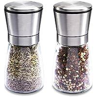 Molinillo de sal y pimienta de vídrio transparente, ajuste regulable manual de la finura de grano, con carcasa de acero inoxidable y gran capacidad (2 PC).