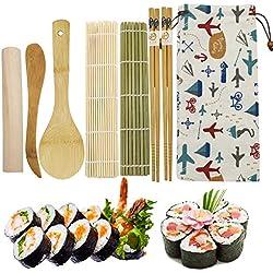 EQLEF Bambu Sushi Making Kit, 2 X Home Sushi Rolling Mat 2 X Bacchette 1X Mattarello 1X Coltello in Legno 1X bambù Riso Cucchiaio 1X Adorabile Borsa di Stoffa (8 Pezzi)