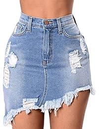 2e8c058968 Inlefen Sra. Temporada de verano Apretado Cintura alta Pantalones cortos de  mezclilla Jeans Pantalones de