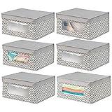 mDesign 6er-Set stapelbare Stoffbox mit Deckel für Kleidung usw. – mittelgroße Aufbewahrungskiste mit Sichtfenster – Schrank Organizer im Zickzack-Muster für Schlafzimmer oder Flur – taupe und natur