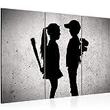 Bilder Junge trifft Mädchen Banksy Wandbild 120 x 80 cm - 3 Teilig Vlies - Leinwand Bild XXL Format Wandbilder Wohnzimmer Wohnung Deko Kunstdrucke Grau - MADE IN GERMANY - Fertig zum Aufhängen 302131a
