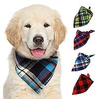 Lazy Paws Cotton Plaid Dog & Cat Bandanas - 4 Pack
