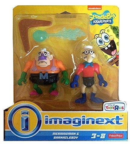 Imaginext, SpongeBob SquarePants Exclusive Figures, Mermaidman & Barnacleboy, by Fisher-Price (Spongebob Spielzeug Imaginext)