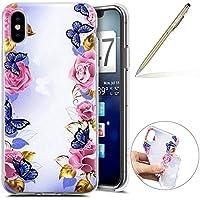 Herbests Handy Tasche für iPhone XS Silikon Hülle Durchsichtige Schutzhülle Crystal Clear Transparent Ultra Dünn Handyhülle Silikonhülle Kristall Klar TPU Bumper,Schmetterling Rose Blumen