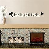 wandaufkleber baum Schönes Herz Text La Vie Est Belle mit Herz für Wohnzimmer Schlafzimmer