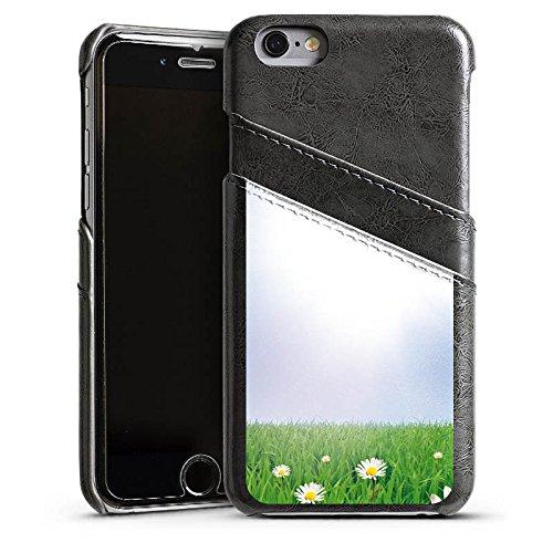 Apple iPhone 4 Housse Étui Silicone Coque Protection Pâquerette Prairie de fleurs Soleil Étui en cuir gris