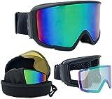 Skibrille verspiegelt Lake Placid 2017 unisex mit magnetischem Wechselglas inkl. Eva-Box + Brillenputztuch + für Brillenträger geeignet kratzfeste Schneebrille Snowboardbrille (matt schwarz)