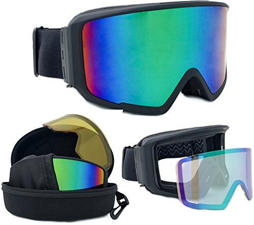 Skibrille verspiegelt Lake Placid 2017 unisex mit magnetischem Wechselglas für schlechte Sicht inkl. Eva-Box + Brillenputztuch | für Brillenträger geeignet | kratzfeste Schneebrille Snowboardbrille