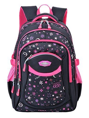 Schulrucksack,Coofit Schulrucksack Mädchen Teenager Kinderrucksack Daypack Schultasche Grundschule Backpack Schulranzen für Mädchen Jungen Teenager Jugendliche (Rosy) (Teenager Mädchen)