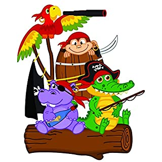 azutura Fun Pirate Wall Sticker Pirate Parrot Animals Wall Decal Boys Bedroom Home Decor available in 8 Sizes Medium Digital