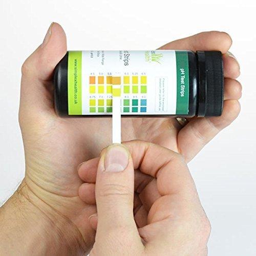SimplexHealth pH Teststreifen (125 Stück) Urin und Speichel mit 30 Tage pH Diagramm
