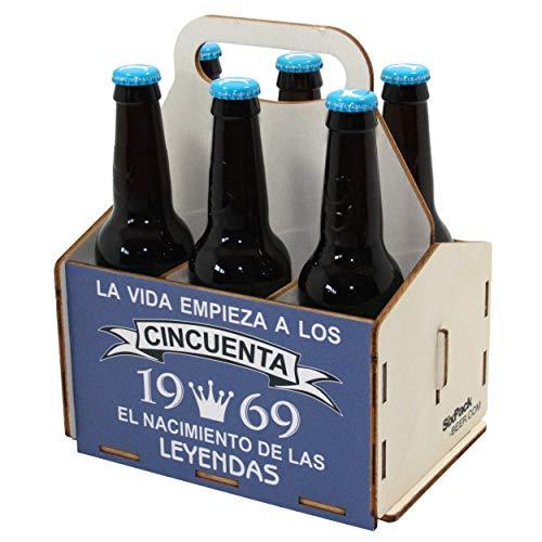 Portacervezas de madera, paquete de seis cervezas, caja portadora de seis, portacervezas de seis, regalo cerveza, cumpleaños 50 años, regalo 50 años, de madera, 50 cumpleaños, cumpleaños hombre, 1969