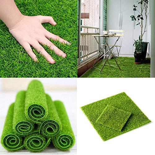 6 Moos Teppich (6 STÜCKE Kunstrasen Gras Rasen Real Touch Moos Synthetischer Rasen, Teppich Teppich für Haustiere, Aquarium Dekoration, Synthetische Gefälschte Rasenteppich für Rasen Landschaftsbau, Terrasse Balkon)