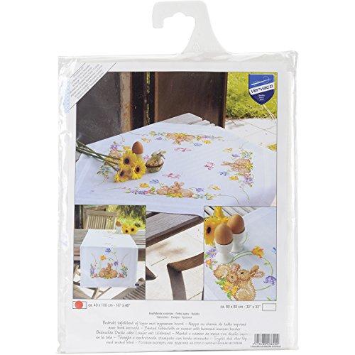 Vervaco Tischläufer Kaninchen Bedruckte Decke/Läufer mit Webrand, Baumwolle, Mehrfarbig, 40 x 100 x 0,3 cm